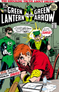 Speedy getting caught shooting heroin by a shocked Green Lantern and Green Arrow