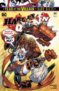 Cover for Harley Quinn #64, Sami Basri (artist), Sam Humphries (writer), Jessica Kholinne and Hi-Fi (colors), Guillem March and Arif Prianto (cover), Steve Wands (letters) - Harley Quinn as a barbarian wielding a giant hammer