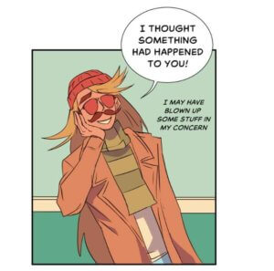 Mustachio may have blown up some stuff in his concern for Elle, Matchmaker Hero on Webtoon, by Madeline Ince