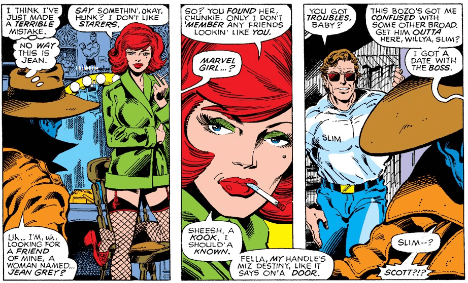 Three panels from Uncanny X-Men #111. The first shows Beast talking to Jean, who wears a lime-green coat and asks Beast to tell her what he's looking for. He says Jean Grey, and in the second panel she says that he has found her, but calls him a kook when he asks if she is Marvel Girl. In the third panel, Cyclops shows up asking if she is in trouble, and she asks him to get Beast out of there.