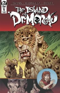 Cover for Island of Dr Moreau #1. IDW Publishing - A human-leopard hybrid looks at the viewer with a tormented expression