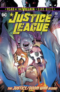 Cover for Justice League #30, Jorge Jimenez (art), Francis Manapul (cover), Tom Napolitano (letters), Alejandro Sanchez (colors), Scott Snyder (writer), James Tynion IV (writer) - Apex Lex and the Legion of Doom fighting Batman, Superman and Wonder Woman