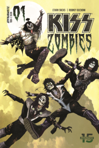 Arthur Suydam cover for Kiss Zombies. C Dynamite Comics 2019 - The members of KISS jumping in mid-air