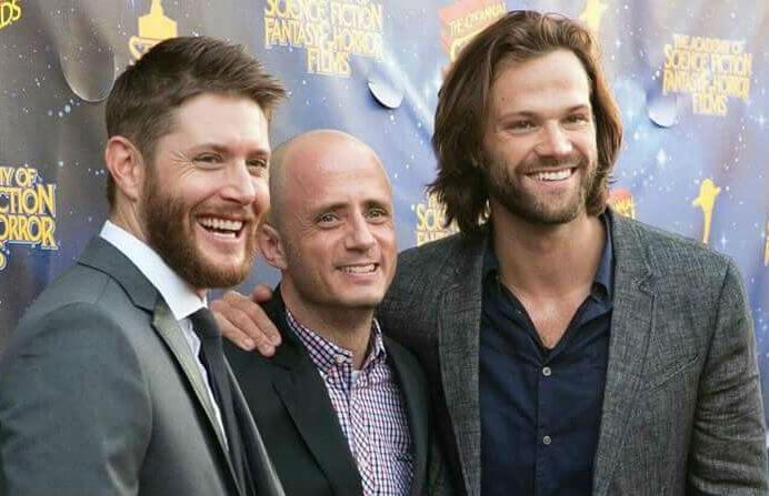 Eric Kripke, Jensen Ackles, and Jared Padalecki at a Supernatural press event, CW.