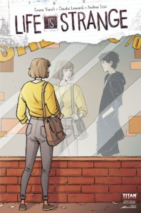 Cover for Life is Strange #7 - Titan Comics - Comicraft's Jimmy Betancourt (letterer) Andrea Izzo (colorist), Claudia Leonardi (artist), Richard Starkings (letterer), Emma Vieceli (writer) - A woman stares in a window, seeing her reflection and that of a young man with spiky hair dressed all in black