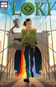 Loki walks across the Rainbow Bridge, swinging Mjolnir