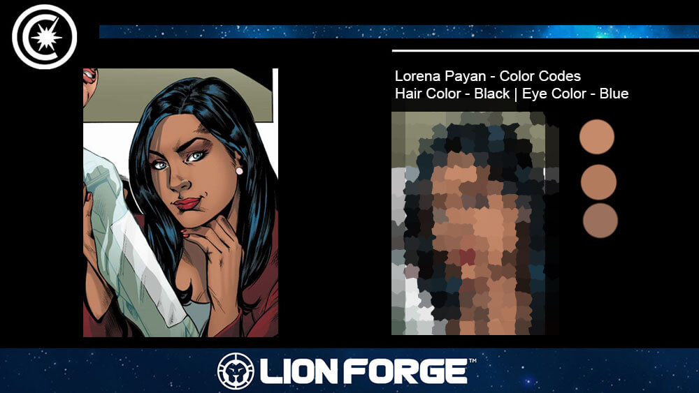 Lorena Payan's face and colour swatches