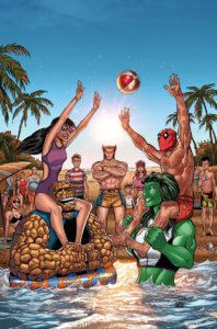 Thing and Kate Bishop play a pool game against She-Hulk and Deadpool