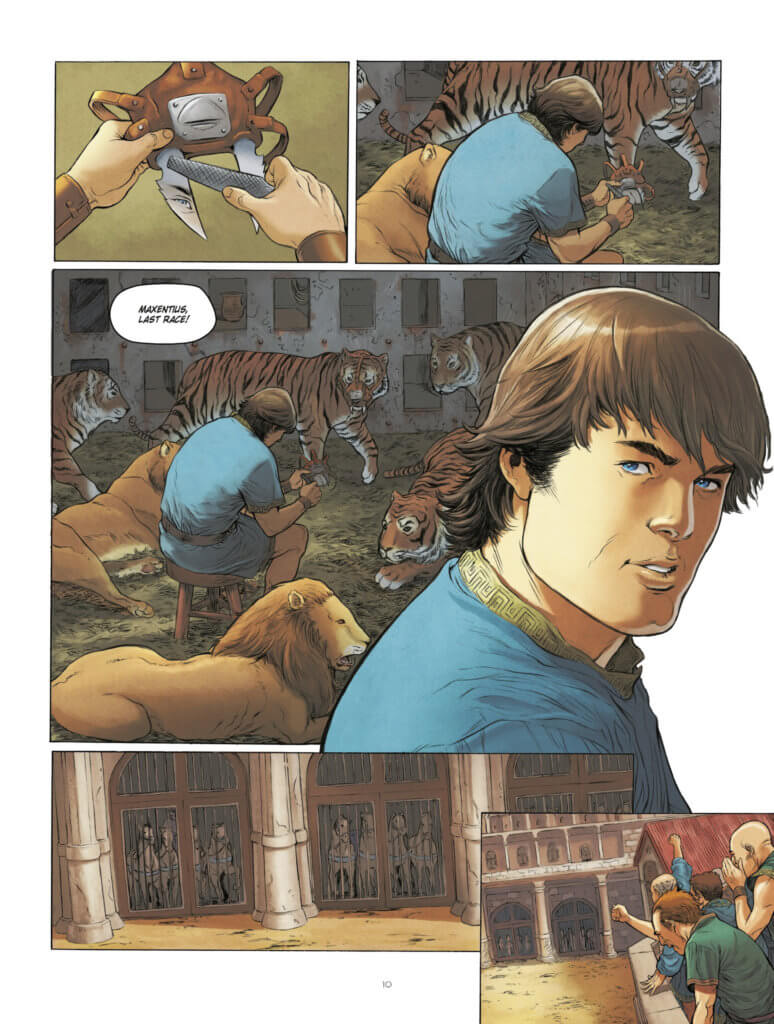 Maxentius Page 10 by Carlos Rafael Duarte, Europe Comics - Maxentius works in an animal enclosure surrounded by tigers and lions