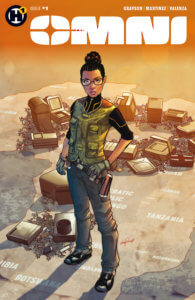 Omni #1 Cover, published by H1 - A woman in a cargo vest and gloves standing on a map of Africa