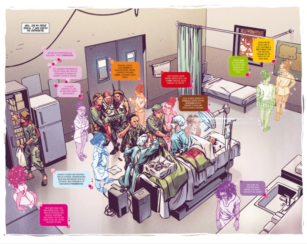 Omni #1 Pages 8-9, Published by H1 - A group of people in an operating room during a surgery, some of them transparent and color-tinted with speech bubbles matching their color