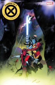 Cover for Powers of X #3 - VC's Clayton Cowles (letterer), Marte Gracia (colors), Jonathan Hickman (writer), Tom Muller (design), R.B. Silva (artist), Marvel Comics, August 14, 2019 - Two of the X-Men face off with swords against an unseen enemy