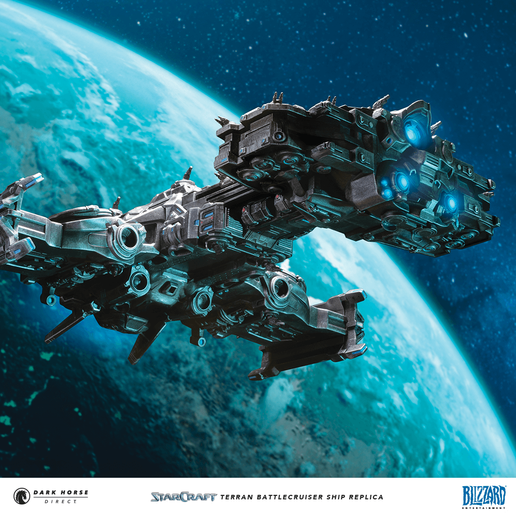 Battlecruiser in space with a planet behind it