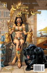 Cover for Grimm Fairy Tales #34: Puss in Boots - Marcio Abreu (pencils), Gary Henderson (colourist), Bernie Lee (letterer), Dan Wickline (writer), Zenescope 2009 - A woman dressed in skimpy Egyptian styled attire sits on a throne with a panther roaring at her feet