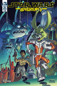 Cover for Star Wars Annual 2019. IDW Publishing - A humanoid rabbit in an orange jumpsuit and Lando Calrissian fleeing pursuit