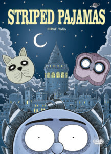 Striped Pajamas Cover by Firat Yaşa, Europe Comics - A close-up of a wide-eyed face, with the floating heads of an owl and cat and a moonlit castle in the background