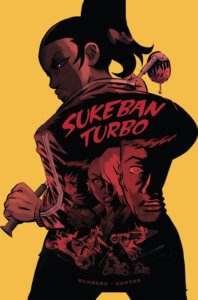 Cover for Sukeban Turbo Volume 1. IDW Publishing - A ponytailed girl looks over her shoulder from behind with a grim expression