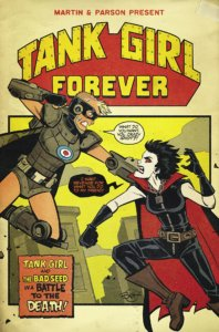 Cover for Tank Girl: Action Alley #5 - Titan Comics - Alan Martin (writer), Brett Parson (artist, letterer) - A woman in a mask and cape punches another superhero woman in a mask and cape