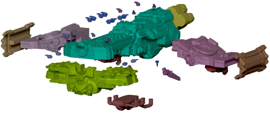 Spaceship from Starcraft, separated into its various pieces