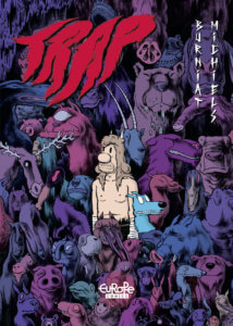 Trap Cover by Mathieu Burniat, Europe Comics - A caveman-esque character stands with a frightened dog against a background of various beasts