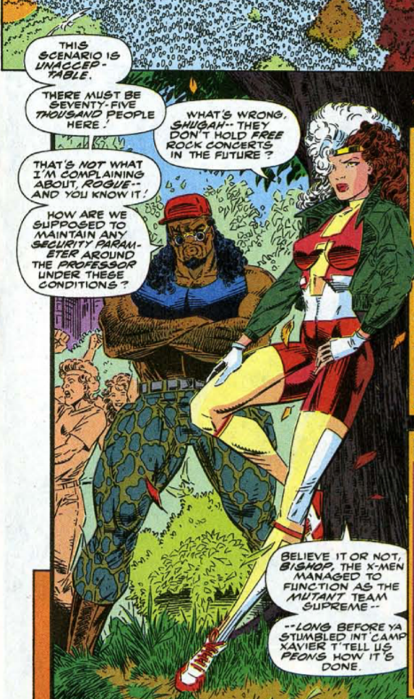 Rogue leans on a tree and Bishop stands next to her