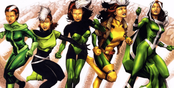 5 versions of Rogue in different costumes