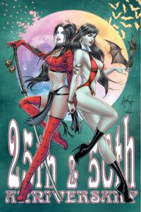 Tucci Shi and Vampirella virgin cover art variant. C Dynamite Comics 2019 - Vampirella and Shi pose back-to-back against a full moon