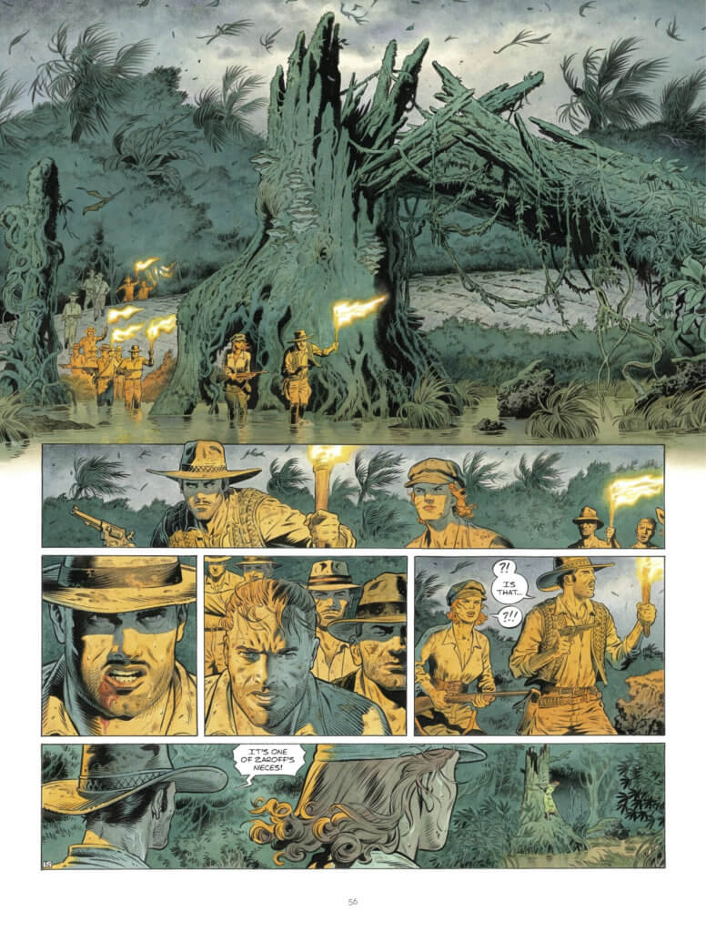 Zaroff Page 58, Europe Comics - A group of travelers proceeding through a murky swamp, holding torches