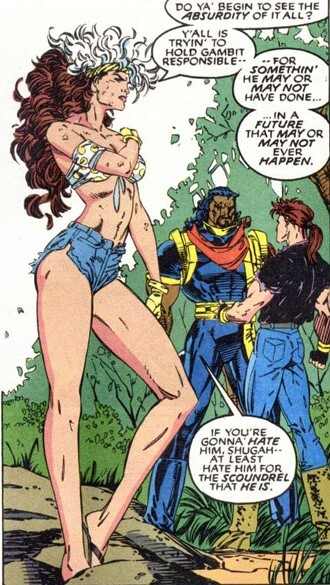 Rogue stands in the foreground while Bishop and Gambit argue