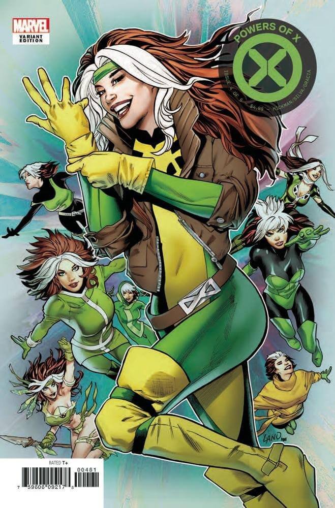 A collage of Rogue in her various costumes