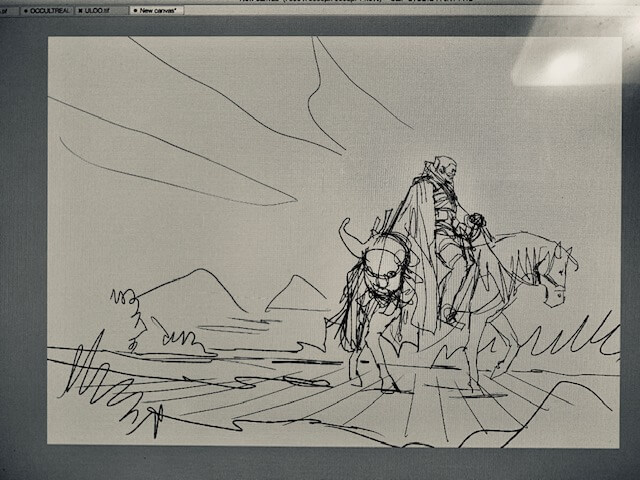 Geralt, the witcher, rides his horse, dragging the head of a griffin behind him (rough sketch)