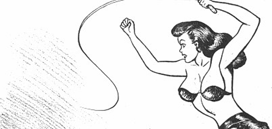 A woman who looks suspiciously like Lois Lane is brandishing a whip in the air