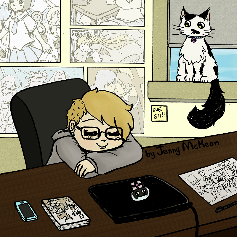 Jennifer McKeon smiles with her head resting on her hands on her desk. Art hangs on the walls and a cat stares from the window.