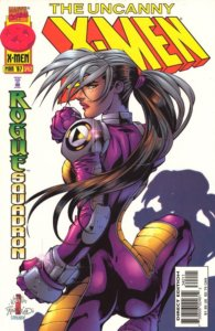 Rogue wearing purple and yellow jumpsuit, back to the camera, looking over her shoulder, fists ready for a fight