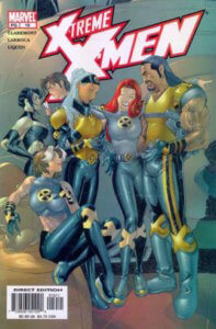 Several members of the X-Men team stand around casually chatting, Rogue sits in front