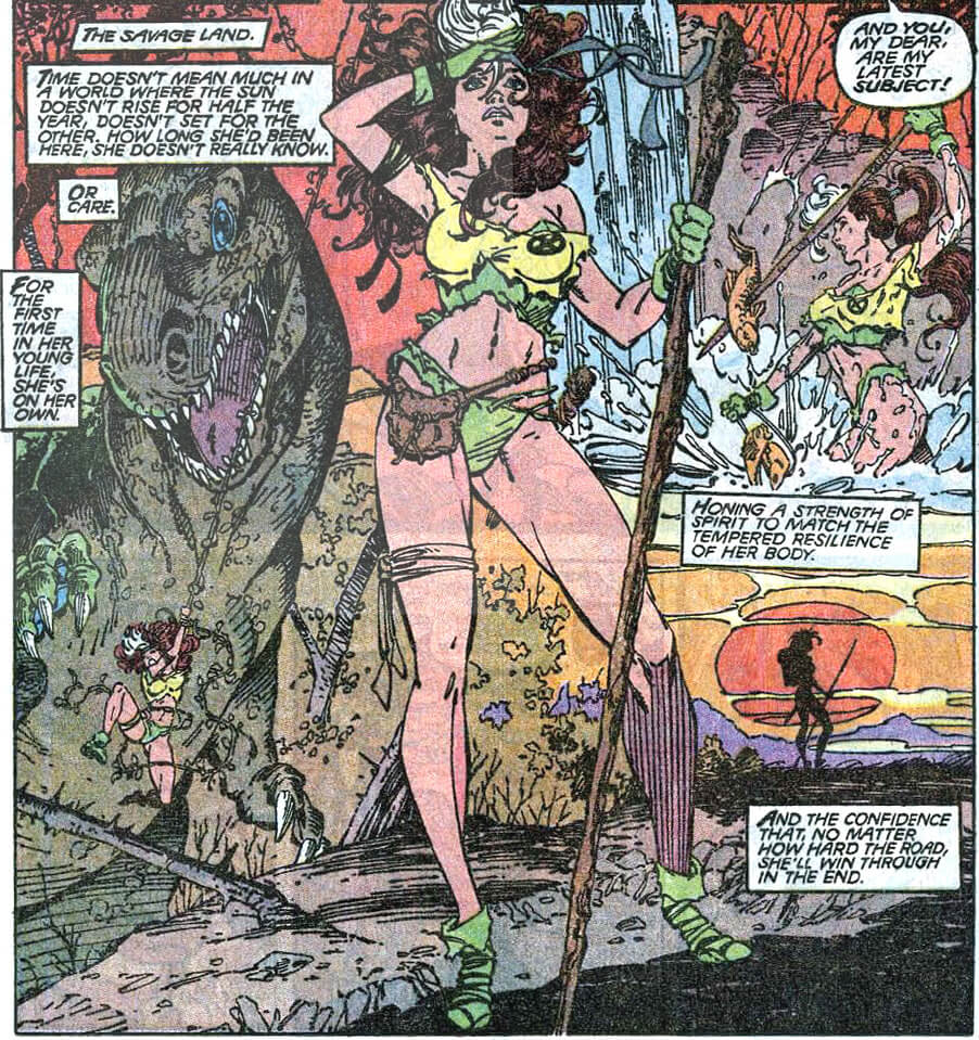 Rogue stands in a savage forest wearing torn clothes, with a dinosaur and waterfall behind her