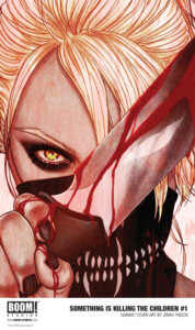 Cover for Something is KIlling the Children 1, Jenny Frison, BOOM! 2019 - A blonde holds up a blood-stained knife to the camera, obscuring their face, which only shows yellow eyes and a toothed half-mask
