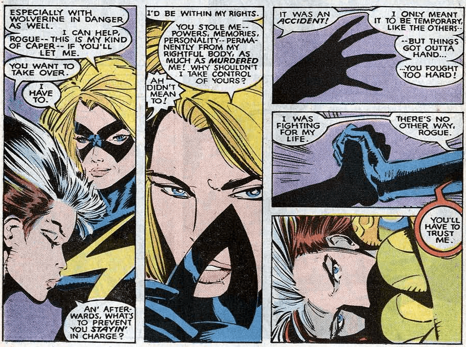 Carol Danvers and Rogue negotiate psychic control of Rogue's body