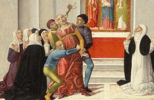 Detail from Girolamo di Benvenuto's painting of St. Catherine of Siena exorcising a possessed woman, circa 1500.