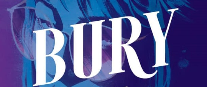 "The word ""BURY"" over the face of a woman wearing glasses"