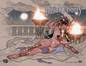 Censored Wraparound Adam Hughes cover of Dejah Thoris #1, C 2019 Dynamite Comics - Dejah Thoris lying on her side on a balcony with lit braziers and a moonlit night behind her