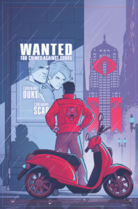 G.I. Joe #1 Cover. IDW Publishing. September 2019. - A figure in a red jacket stands on the street next to a parked red scooter, looking at a Wanted poster