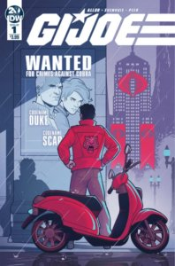 Cover for G.I. Joe #1 - Paul Allor (writer), Chris Evenhuis (pencils), Brittany Peer (colors), Neil Uyetake (letters) IDW Comics September 18, 2019 - A figure in a red jacket stands on the street next to a parked red scooter, looking at a Wanted poster