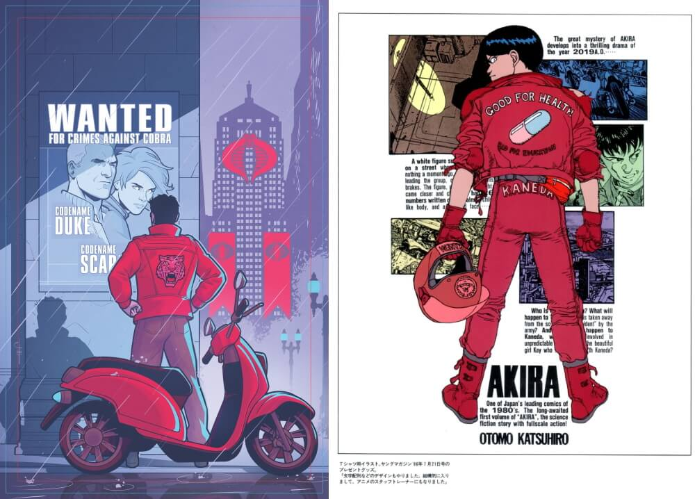 Comparison of the cover for G.I. Joe #1 and Tetsuo from AKIRA, showing the similarities between two figures both wearing red jackets with matching red bikes or helmets