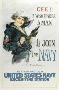 In this Howard Chandler Christy painting/poster, a young woman dressed in a navel outfit encourages young men to join the war effort