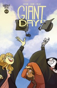Cover for Giant Days #54 - John Allison (writer), Jim Campbell (letterer), Whitney Cogar (colorist), Max Sarin (artist), BOOM! Studios September 4, 2019 - Two women in graduation caps and gowns tossing their caps in the air, while the other ducks and covers