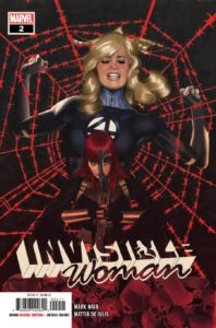Cover to Invisible Woman #2, Adam Hughes, Marvel Comics, August 2019 - Sue Storm posed against a red spiderweb, fighting to get free