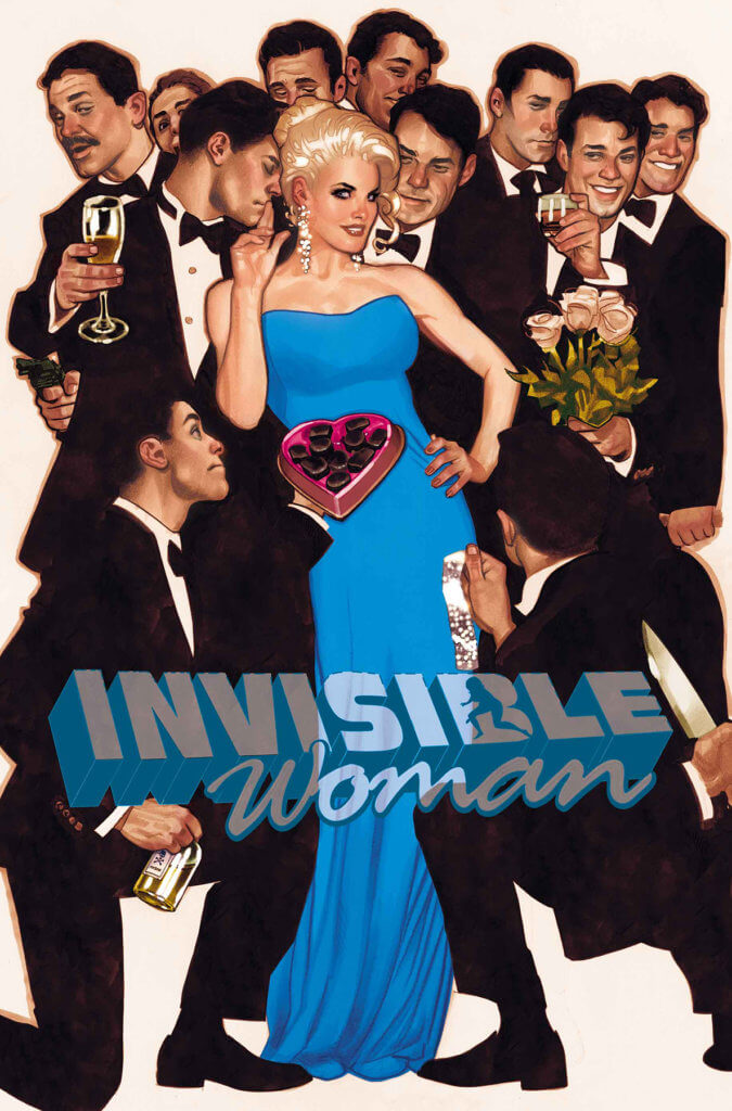 Cover for Invisible Woman #3 by Adam Hughes, Marvel Comics, September 2019 - Sue Storm in a blue gown surrounded by tuxedoed men offering her attention