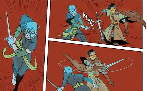 Panels from The Necromancer's Map #1 - AndWorld Design (letterer), Sam Beck (artist), Andrea Fort (writer), Michael Christoper Heron (writer), Ellie Wright (colourist), Vault Comics 28 August 2019 - Three panels showing Elissar fighting a mysterious figure. They use swords to battle each other, their figures standing out against a blank, red background