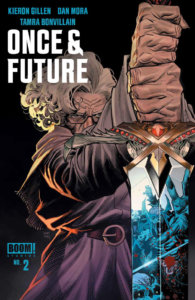 Once & Future #2, cover by Dan Mora, BOOM! Studios, 2019 - An elderly lady holds a sword with monsters reflected in the blade